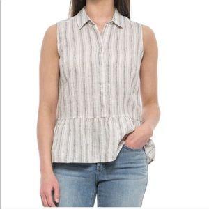 Tahari 100% linen sleeveless button down top
